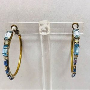 Sorrelli Blue Sapphire Baguette Ant. gold Hoops
